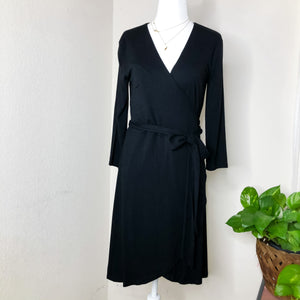 Loft Black Jersey Knit Long Sleeve Wrap Dress XSP