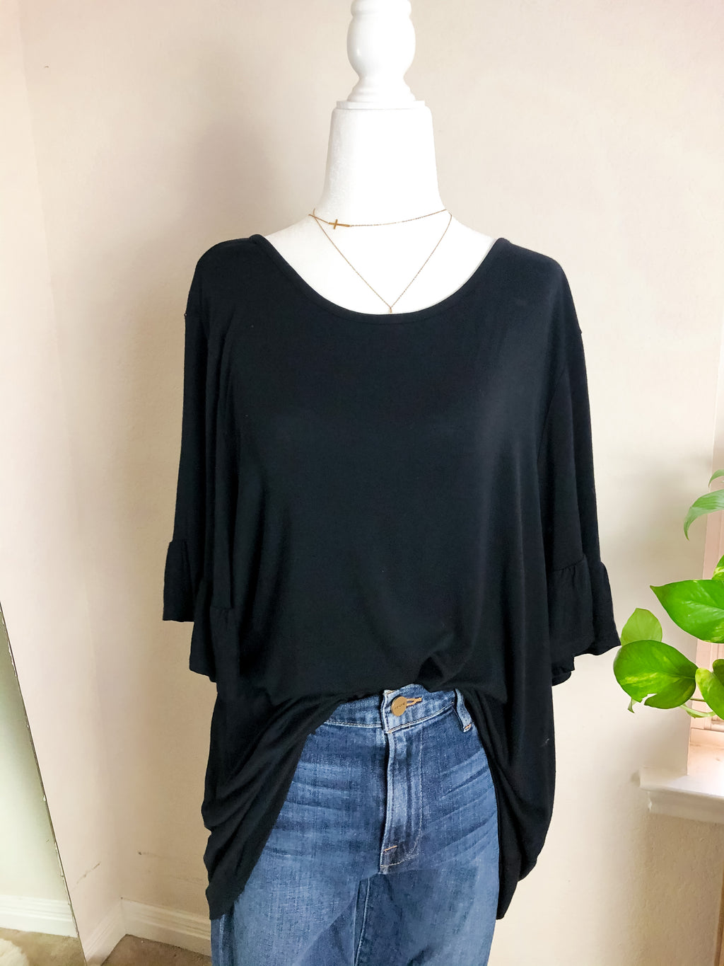 Philosophy Black Ruffle Sleeve Tee