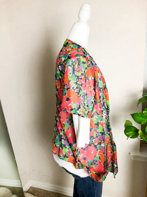 Anthropologie Myne Silk Floral Short Sleeve Kimono