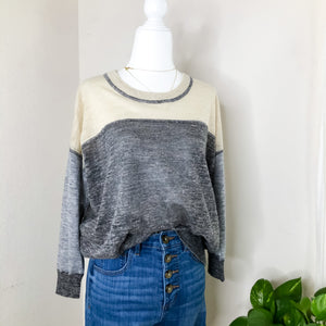 Madewell Colorblock Linen blend Tan Sweater S