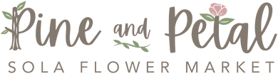 pine and petal sola wood flower market logo