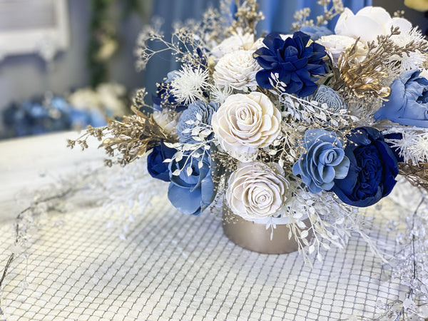 dusty blue and silver winter christmas sola wood flower arrangement