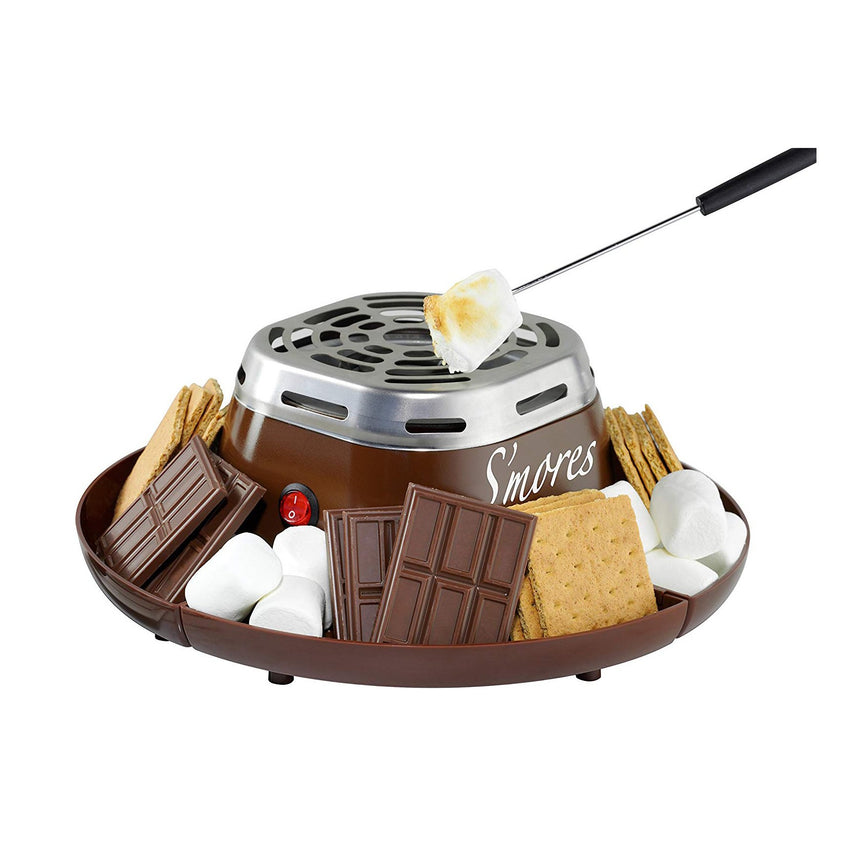 Indoor Electric Stainless Steel S'mores Maker with 4 Compartment Trays for Graham Crackers, Chocolate, Marshmallows and 2 Roasting Forks
