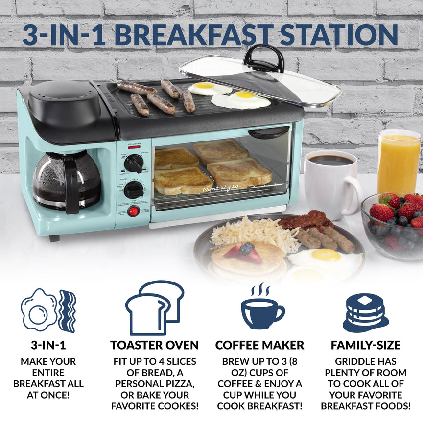 Retro 3-in-1 Family Size Breakfast Station, Aqua