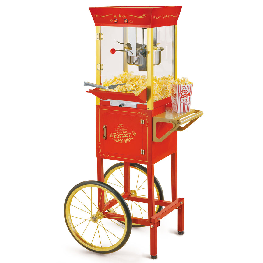 Vintage Professional Popcorn Cart - NEW 8-Ounce Kettle - 53 Inches Tall