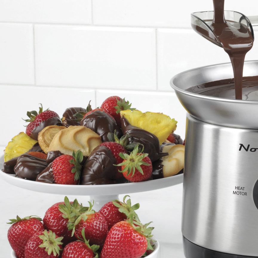 2-Pound Stainless Steel Cascading Fondue Fountain - Chocolate, BBQ Sauce, Ranch, Nacho Cheese, Buffalo Sauce