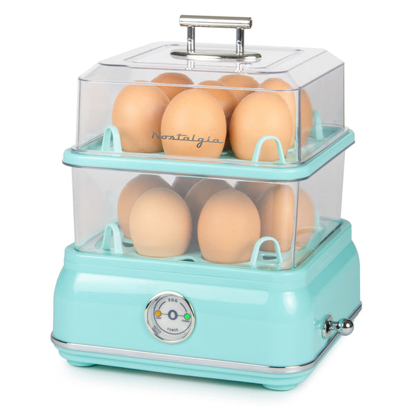 Classic Retro 14-Capacity Egg Cooker, Aqua