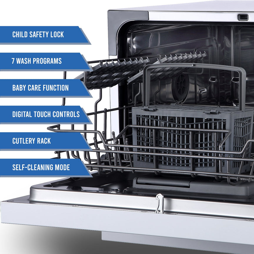 Farberware Professional 6 Piece Countertop Dishwasher, Stainless