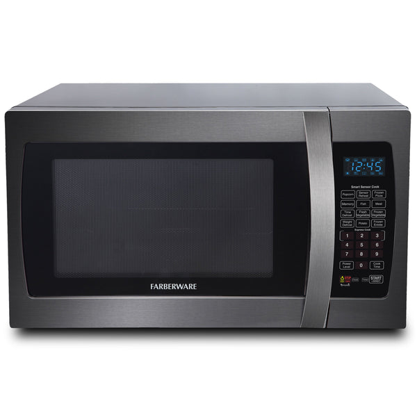 Farberware Black 1.3 Cu. Ft. 1100-Watt Microwave Oven with Smart Sensor, Black Stainless Steel