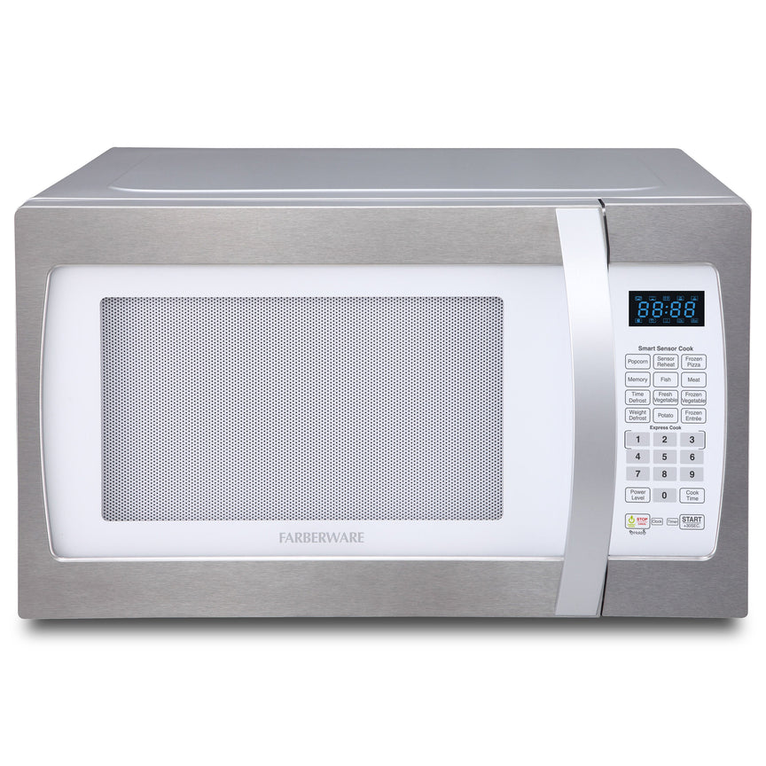 Farberware Professional 1.3 Cu. Ft. 1100-Watt Microwave Oven with Smart Sensor Cooking, White and Platinum