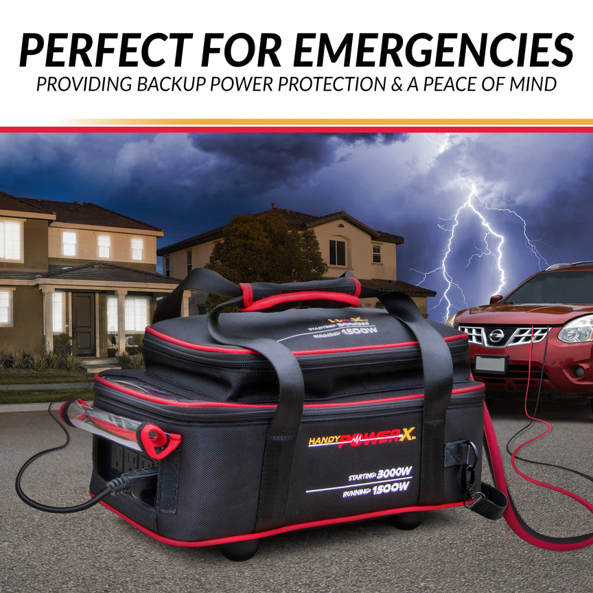 Handy Power X Pure Sine Power Source Inverter Generator, 1500 Watts Starting, 3000 Running, 4 AC Outlets, USB Port, Includes Weather Resistant Carrying Case, Perfect For Emergencies, Camping, Tailgating, On The Job