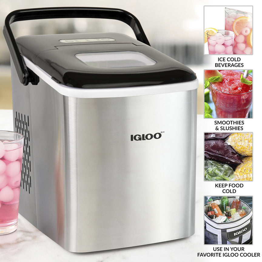 IGLOO® 26-Pound Automatic Self-Cleaning Portable Countertop Ice Maker Machine With Handle, Stainless Steel