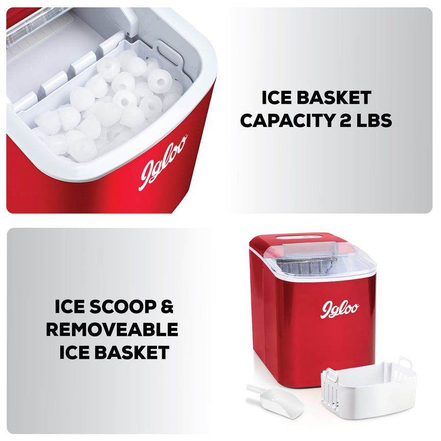 IGLOO® 26-Pound Automatic Portable Countertop Ice Maker Machine - Retro Red