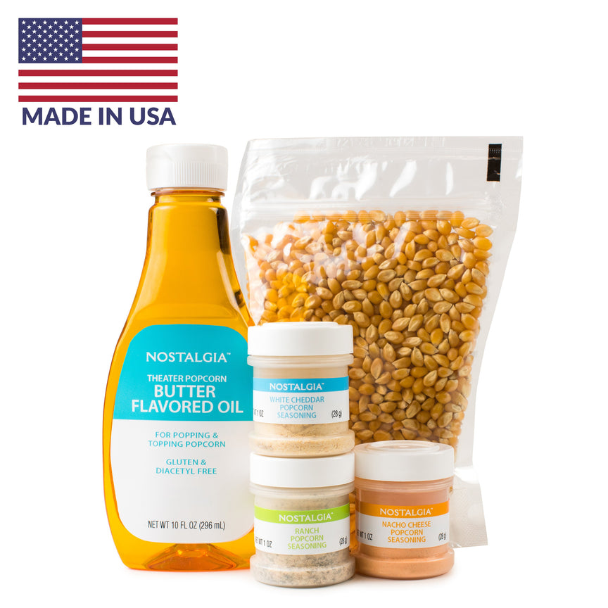 Hot Air & Kettle Popcorn Kit, 3 Seasonings, Oil, Popcorn Kernels