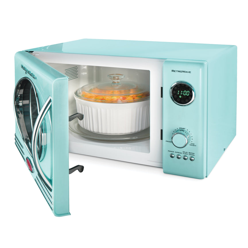 Retro 0.9 Cubic Foot 800-Watt Countertop Microwave Oven - Aqua