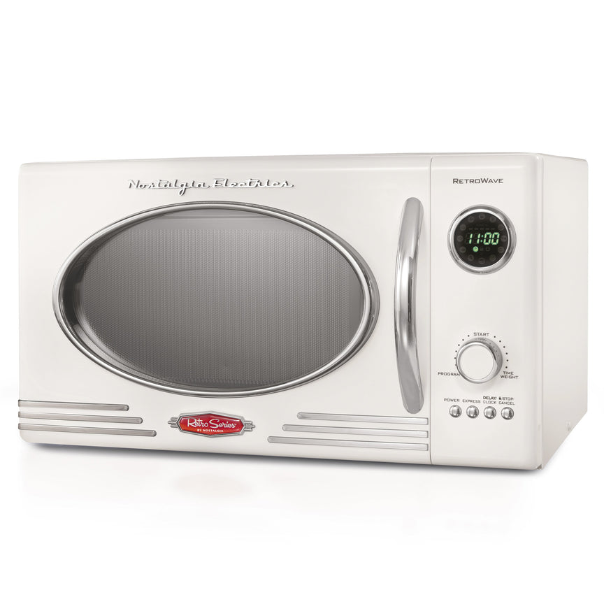 Retro 0.9 Cubic Foot 800-Watt Countertop Microwave Oven - Ivory