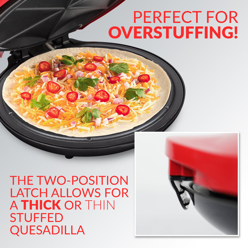Taco Tuesday Deluxe 10-Inch 6-Wedge Electric Quesadilla Maker with Extra Stuffing Latch
