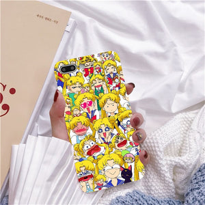 Rose Japonês Sailor Moon Kawaii Cat Caso de Telefone Para o iphone 6 Puls S 7 8 Puls X