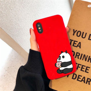 Phone Case For iphone 11 Pro Max X XS Max XR 6 6S 7 8 Plus Soft TPU Kawaii Bear Panda Pattern candy Cases Cover