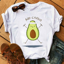 Load image into Gallery viewer, Kawaii Cartoon Avocado Short Sleeve Female T-shirt