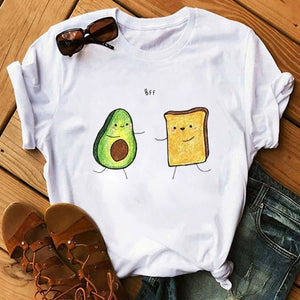 Kawaii Cartoon Avocado Short Sleeve Female T-shirt
