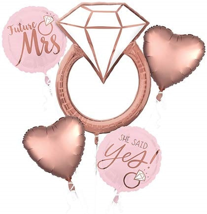5pc Rose Gold Ring Mylar Balloon Bouquet