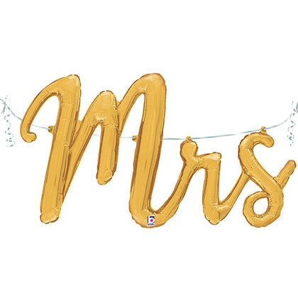 "27"" Mrs Gold Mylar Balloon"