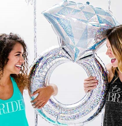 "38"" Holographic Band Wedding Ring Shaped Mylar Balloon"