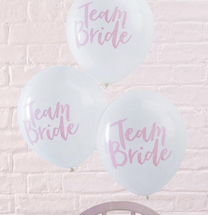 These white and pink Team Bride balloons are the perfect way to decorate the bachelorette party. This set of 10 latex balloons will work for any themed bachelorette party or bridal shower.
