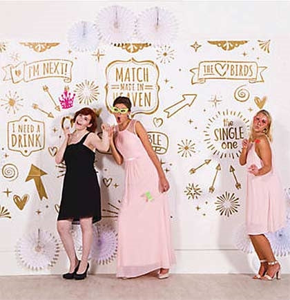 Have fun taking photos at a wedding reception, bachelorette party or bridal shower with this fun backdrop. This giant white and gold backdrop comes in three pieces and is big enough to hang on the wall.