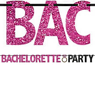 "Decorate the bachelorette party with this fun banner! This 12ft long Hot Pink & Black glitter Banner says ""Bachelorette Party"" and features a wedding ring."