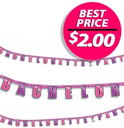 This fun 8.75ft long pink and purple metallic letter banner says BACHELORETTE PARTY. Long enough to place on the wall, hang off a table or bar.