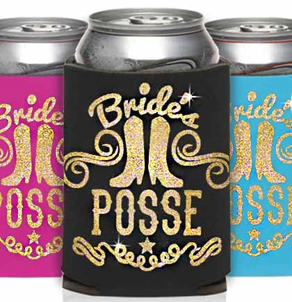 Gold Glitter Bride's Posse Can Cover
