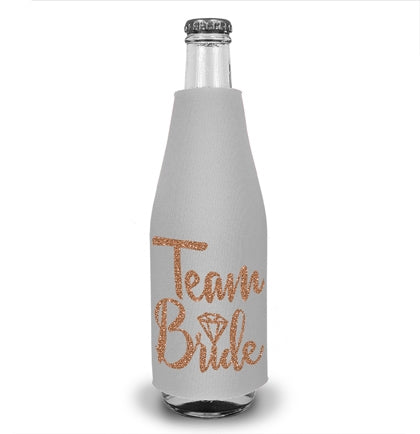 Team Bride Diamond Rose Gold Glitter Bottle Cooler