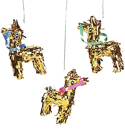 "This fun mini 7.5"" tall gold fringe donkey resembles a piñata and is the perfect party decoration for a Final Fiesta!"