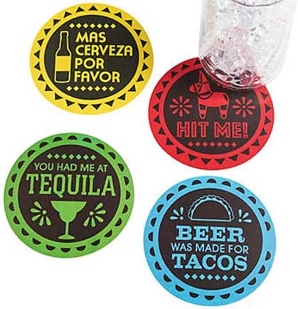 These fun Fiesta coasters are perfect for a Final Fiesta Bachelorette Party! There are four fun sayings for a total set of twelve. The sayings include You Had Me At Tequila, Hit Me, Beer Was Made for Tacos and Mas Cerveza Por Favor!
