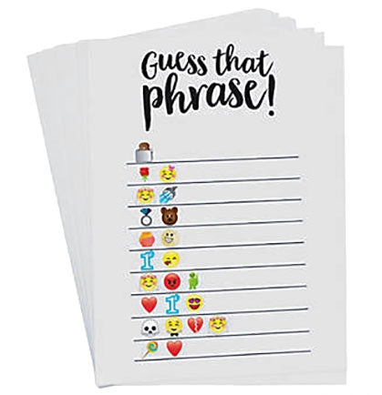 This trendy Emoji Guess The Phrase Card Game is the perfect ice breaker to start the Bachelorette Party or Bridal Shower! The game comes with one answer card and twenty-four cards so there are plenty for the party guests to translate the emojis into bridal and wedding themed phrases!