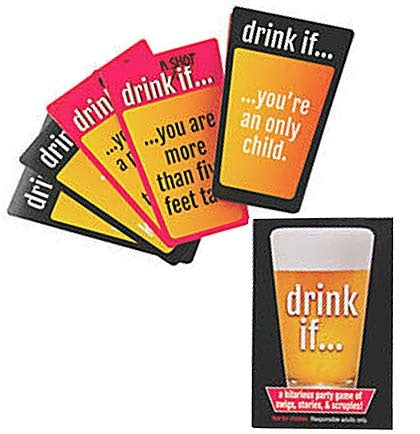 This Drink If... Card Game has twenty drink prompts and five take a shot prompts! To play you need two separate beverages: one to drink and another for taking a shot. Shuffle the cards and let the laughs begin!