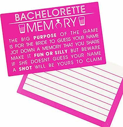 To play this Bachelorette Party Memory Game pass out the cards to the players and have them write down a memory that they share with the bride. Have the bride read out the memory and try to guess who's name is associated with that memory. Make sure the memory is fun or silly and if the bride doesn't guess the right person then that person gets a drink or shot.