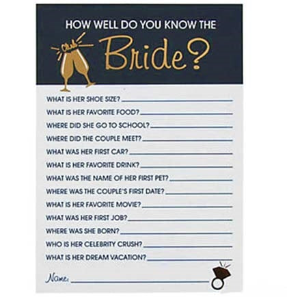 Get your bachelorette party or bridal shower started with this How Well Do You Know The Bride Trivia Game. It's a fun ice breaker game to see who knows the bride best. This is also a great game to play while getting ready before the wedding!