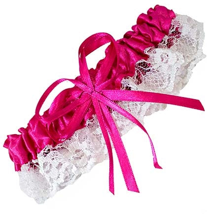 Oh la la! This sexy hot pink satin garter is trimmed with white lace and stretch's to fit most. The perfect favor for the bride to wear during the bachelorette party or lingerie shower.