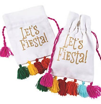 "This fun Let's Fiesta drawstring canvas bag is the perfect gift bag for a Final Fiesta Bachelorette Party! The 6.5"" canvas drawstring bag is the perfect size to include some goodies and give them out to everyone at your party."