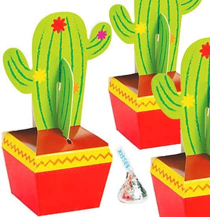 "These Fiesta Cactus Mini Treat Boxes are perfect to scatter on a table for the party guests! The set of three mini 5.5"" tall treat boxes are big enough to add a few small candies or small favors. Perfect for the guests to take home as a memento for after the party."