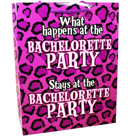 Let everyone know the ground rules from the beginning: What happens at the bachelorette party, stays at the bachelorette party! Fill these paper bags with goodies and use them as bachelorette party favors, or use the bag to wrap up the bride's gift. You're in for a wild night!