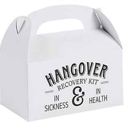 "This fun gift box is a great way to package hangover kits for the guests for the next day! This white and black 6.25""x3.5""x5"" cardstock box says Hangover Recovery Kit In Sickness & In Health. It's big enough to include all the staples of recovering from a night of partying."