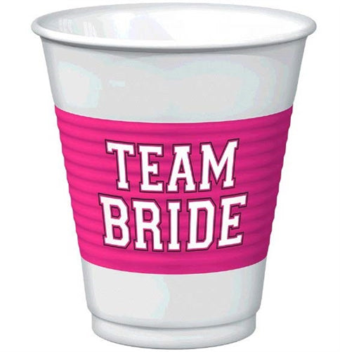 Show the bride your support with these disposable plastic party cups. Get these 16oz 'Team Bride' party cups for the party.