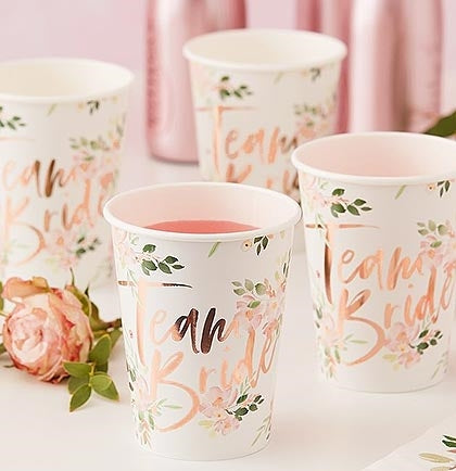 These gorgeous floral ivory and metallic rose gold TEAM BRIDE party paper cups are perfect for a bachelorette party or bridal shower. T