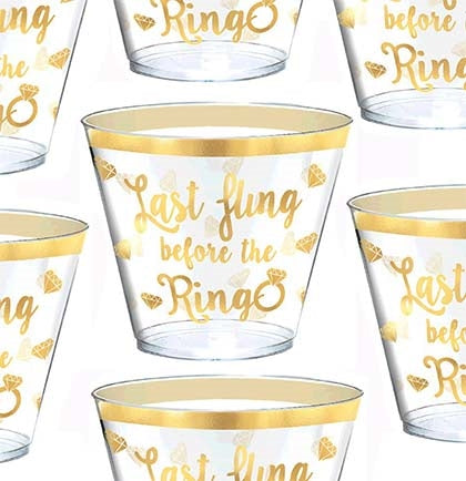 It's your LAST FLING BEFORE THE RING! These 9oz set of 30 plastic cups are clear with metallic gold.