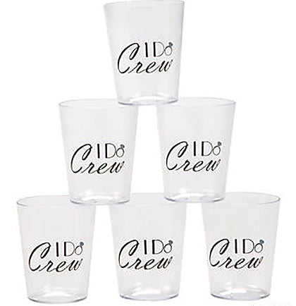 "Celebrate the bachelorette party crew with a shot! Get these 2"" tall plastic glasses for all of the attendees--makes a great toast or photo op! The plastic glasses holds 2oz. of liquid are clear and black and say I DO CREW."