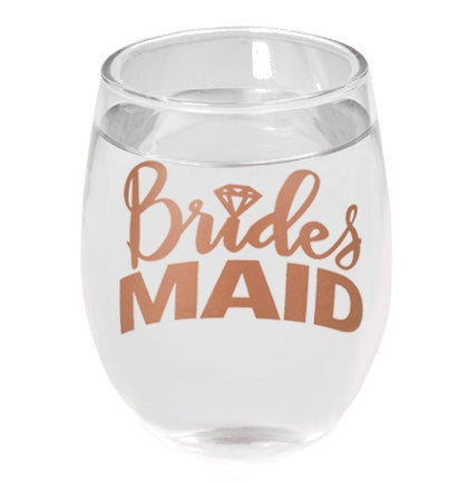 This Bridesmaid stemless wine glass holds 9oz. and make a great gift for the bridesmaid.